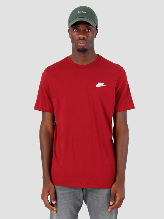 Nike NSW Club T-Shirt Tea Red White BQ0024-677 AR4997-677