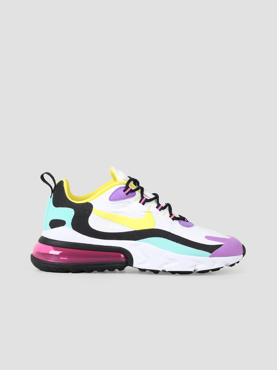 Nike Air Max 270 React White Dynamic Yellow Black Bright Violet AO4971-101