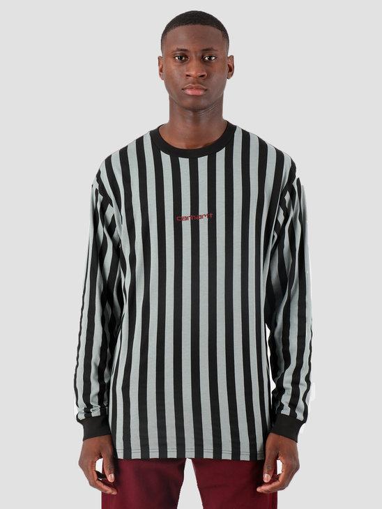 Carhartt WIP Longsleeve Barnett Shirt Barnett Stripe Black Cloudy Merlot I027073