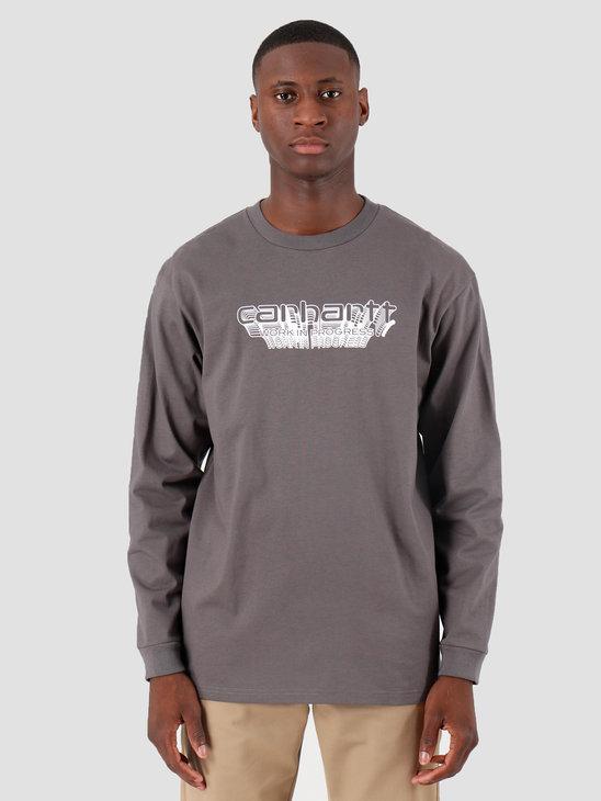 Carhartt WIP Longsleeve Framework T Shirt Air Force Grey White I027089
