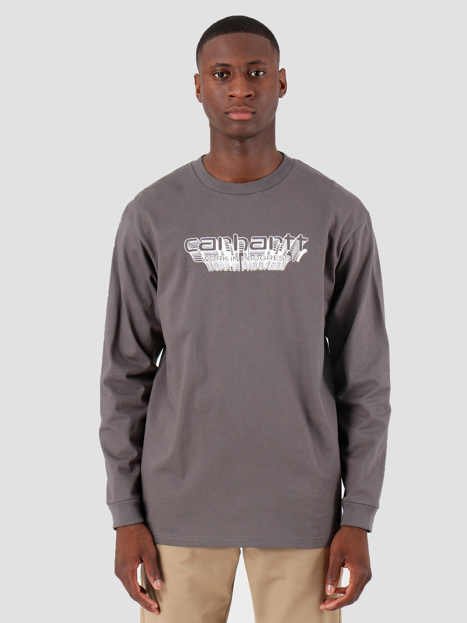Carhartt WIP Carhartt WIP Longsleeve Framework T Shirt Air Force Grey White I027089