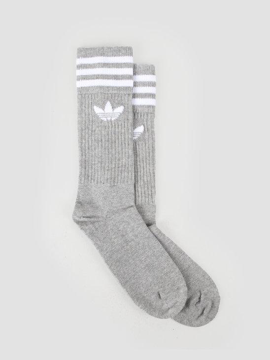adidas Solid Crew Sock Mgreyh White ED9361