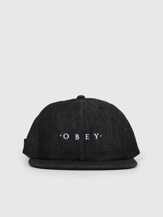 Obey Temper 6 Panel Strapback Faded Black 100580208-FBL
