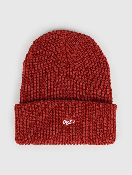 Obey Jumbled Beanie Brick Red 100030145-BRD