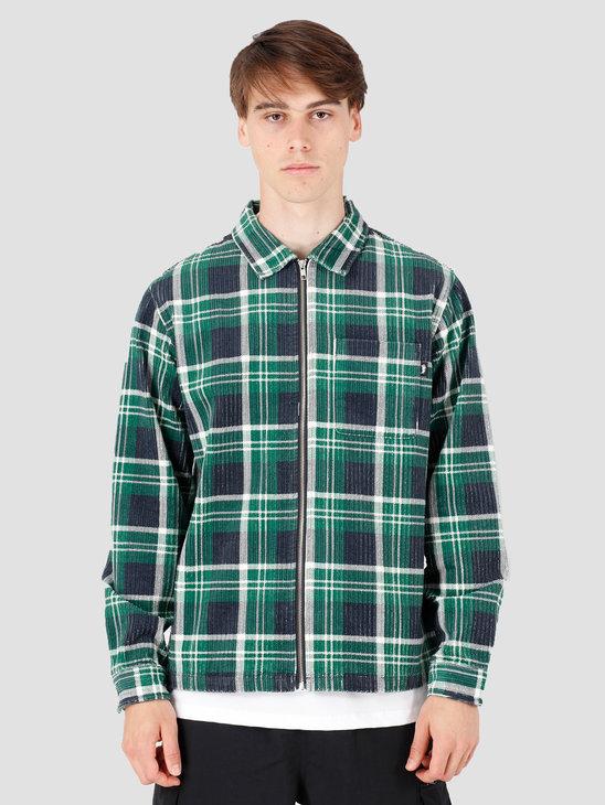Stussy Big Wale Cord Zip Up Longsleeve Shirt Green Plaid 1110068