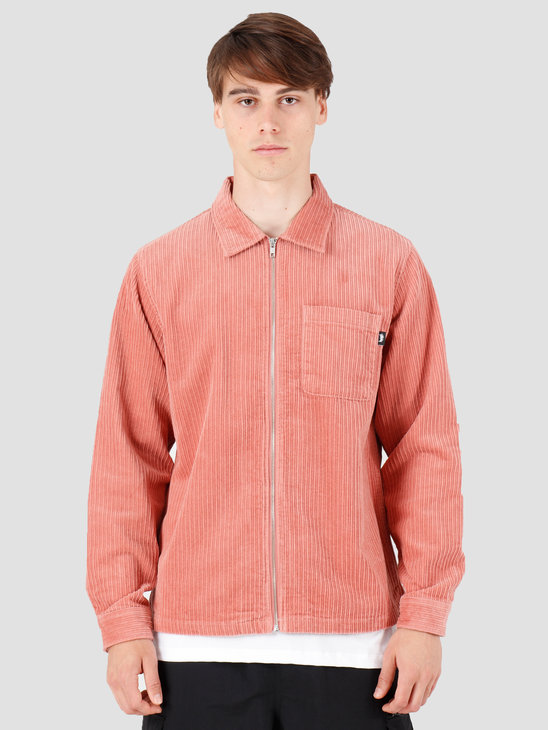 Stussy Big Wale Cord Zip Up Longsleeve Shirt Pink 1110068