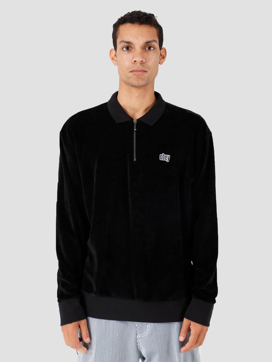 Obey Buster Classic Polo Ls Black 131040024-BLK