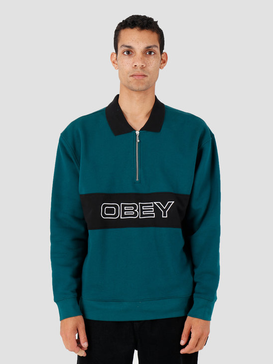 Obey Baron Zip Crew Polo Deep Teal Multi 111620051-DPT