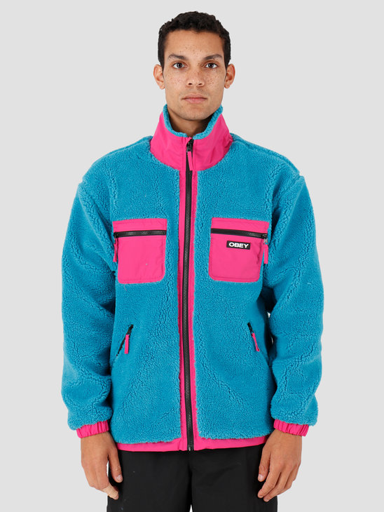 Obey Out There Sherpa Jacket Pure Teal 121800383-PTL