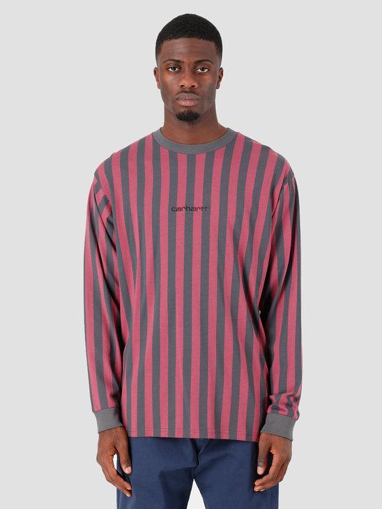 Carhartt WIP Longsleeve Barnett Shirt Barnett Stripe Blacksmith Dusty Fuchsia Black I027073
