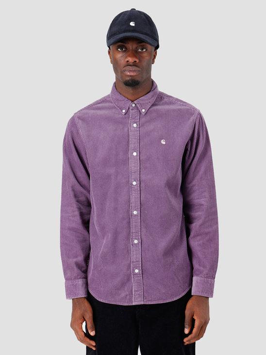 Carhartt WIP Longsleeve Madison Cord Shirt Dusty Mauve Cinder I025247
