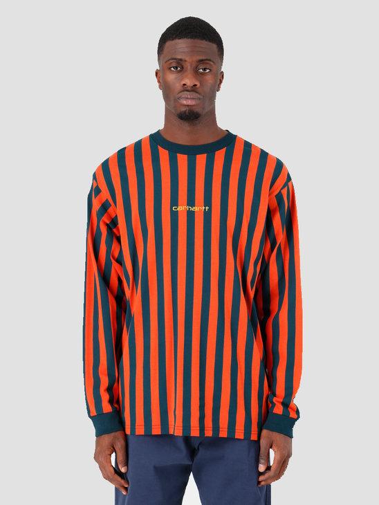 Carhartt WIP Longsleeve Barnett Shirt Barnett Stripe Brick Orange Duck Blue Colza I027073