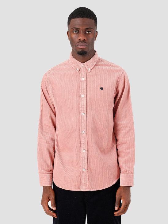 Carhartt WIP Longsleeve Madison Cord Shirt Blush Duck Blue I025247