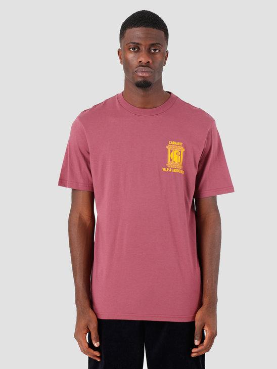 Carhartt WIP Law T Shirt Dusty Fuchsia Yellow I027100
