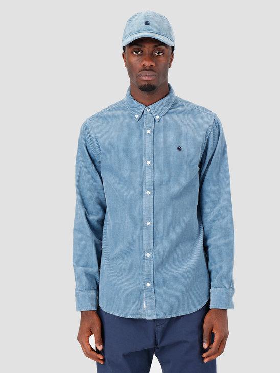 Carhartt WIP Longsleeve Madison Cord Shirt Cold Blue Dark Navy I025247