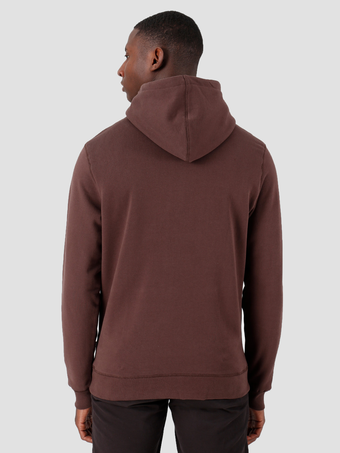 Quality Blanks Quality Blanks QB93 Patch Logo Hoodie Chocolat Brown