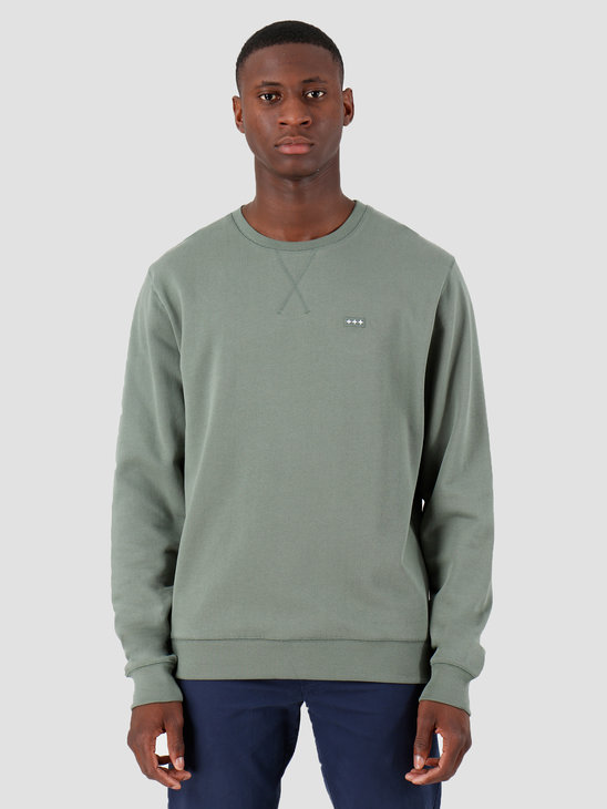 Quality Blanks QB94 Patch Logo Crewneck Olive Green