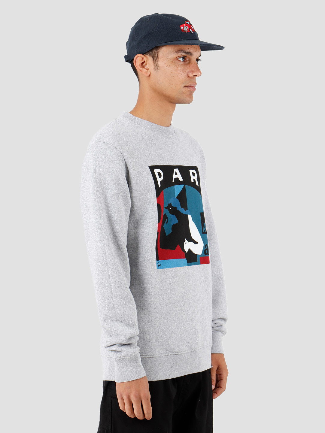 By Parra By Parra Street Fighter Crew Neck Sweater Heather Grey 42980