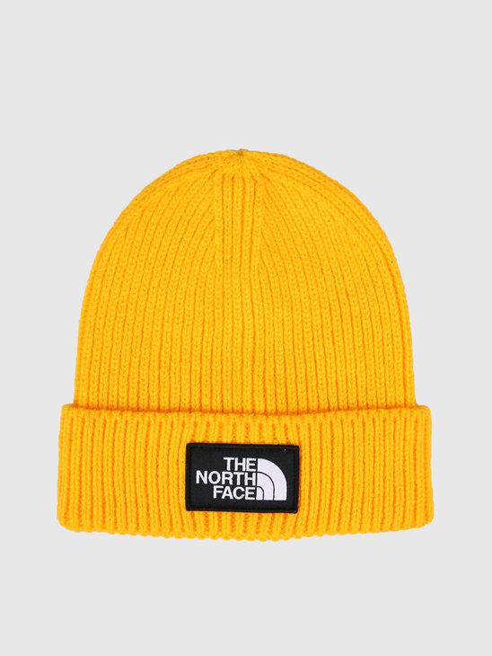 The North Face Logo Box Cuffed Beanie Yellow T93FJX70M