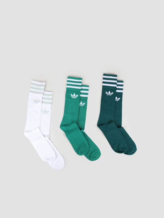 adidas Solid Crew Sock Nobgrn Bgreen White ED9362