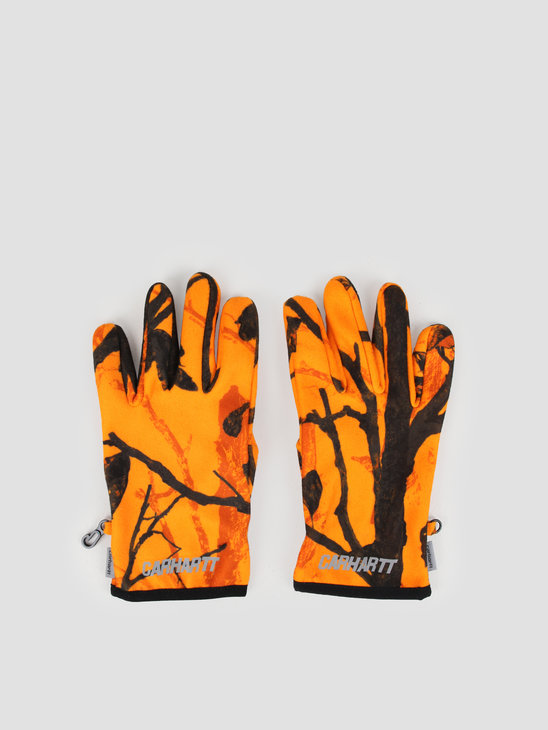 Carhartt WIP Beaufort Gloves Camo Tree Orange Reflective I026838