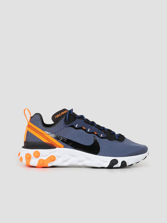 Nike React Element 55 SE Midnight Navy Black Total Orange CI3831 400