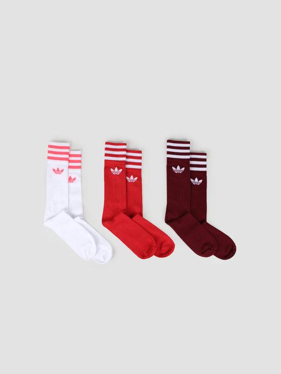 adidas Solid Crew Sock Cburgu Scarle White ED9360