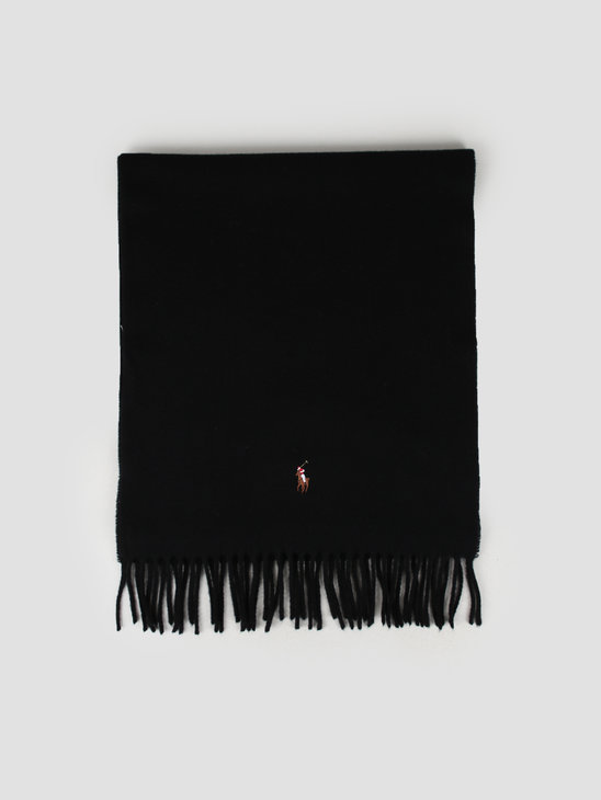 Polo Ralph Lauren Sign It Wool Oblong Scarf Black 449727530001
