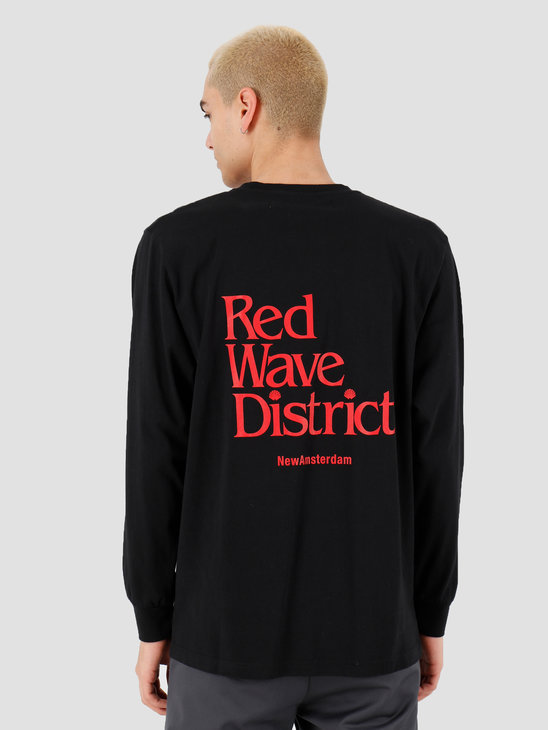 New Amsterdam Surf association Red wave longsleeve Black 2018027