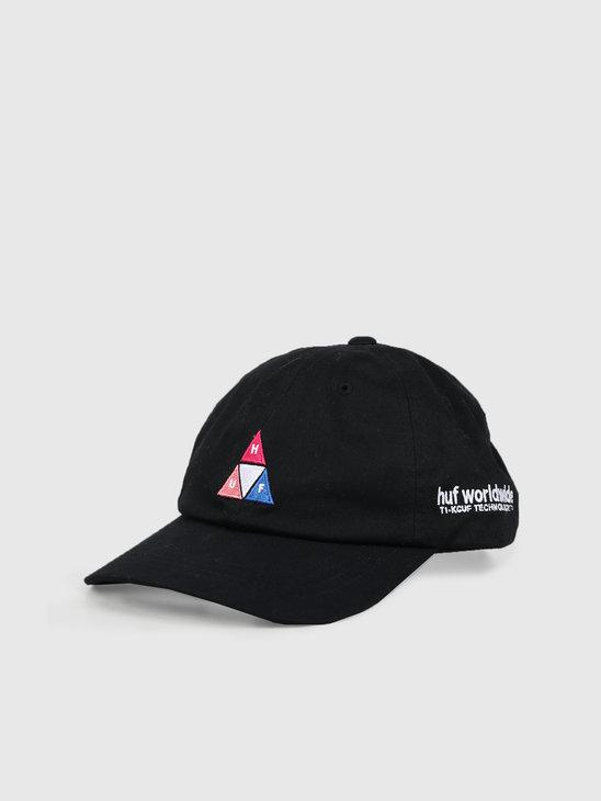 HUF Peak Logo Cv 6 Panel Hat Black Ht00424Black