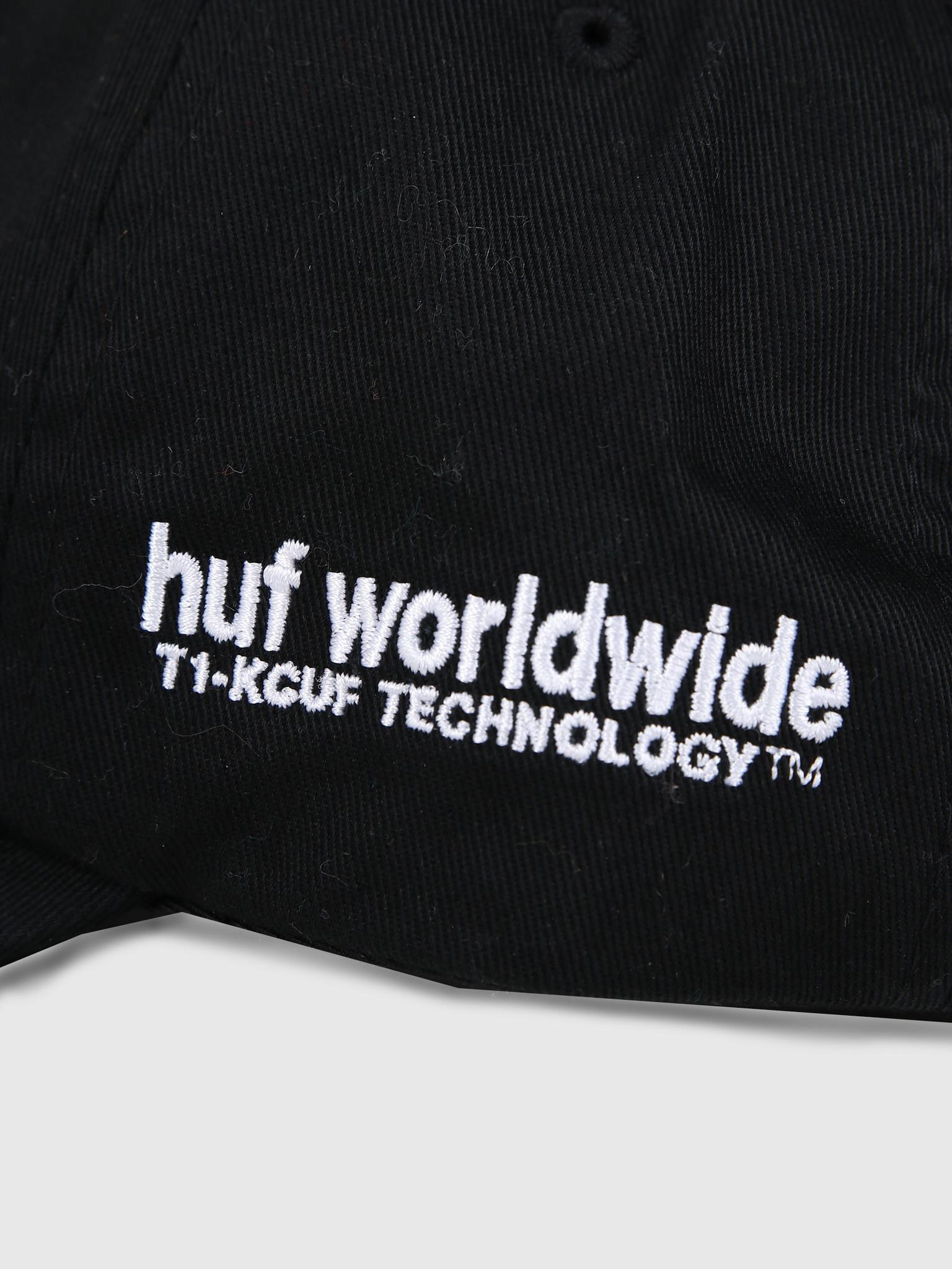 HUF HUF Peak Logo Cv 6 Panel Hat Black Ht00424Black