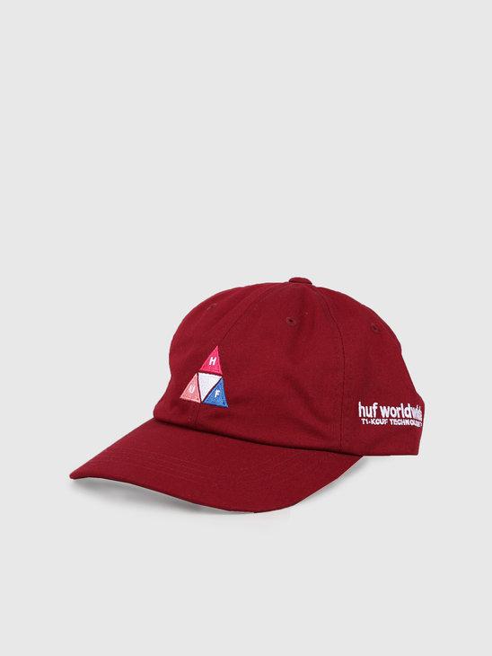 HUF Peak Logo Cv 6 Panel Hat Red Pear Ht00424Rpear