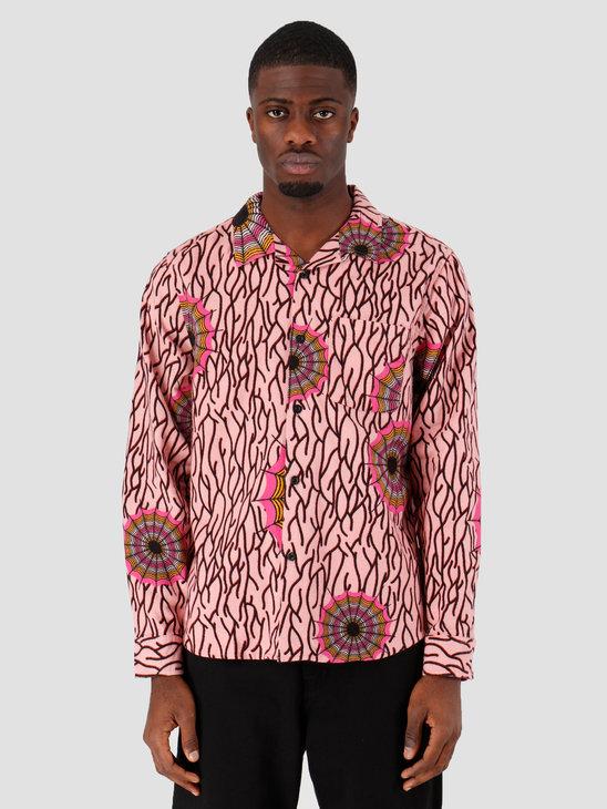 Stussy Spider Web Flannel LS Shirt Pink 1110087