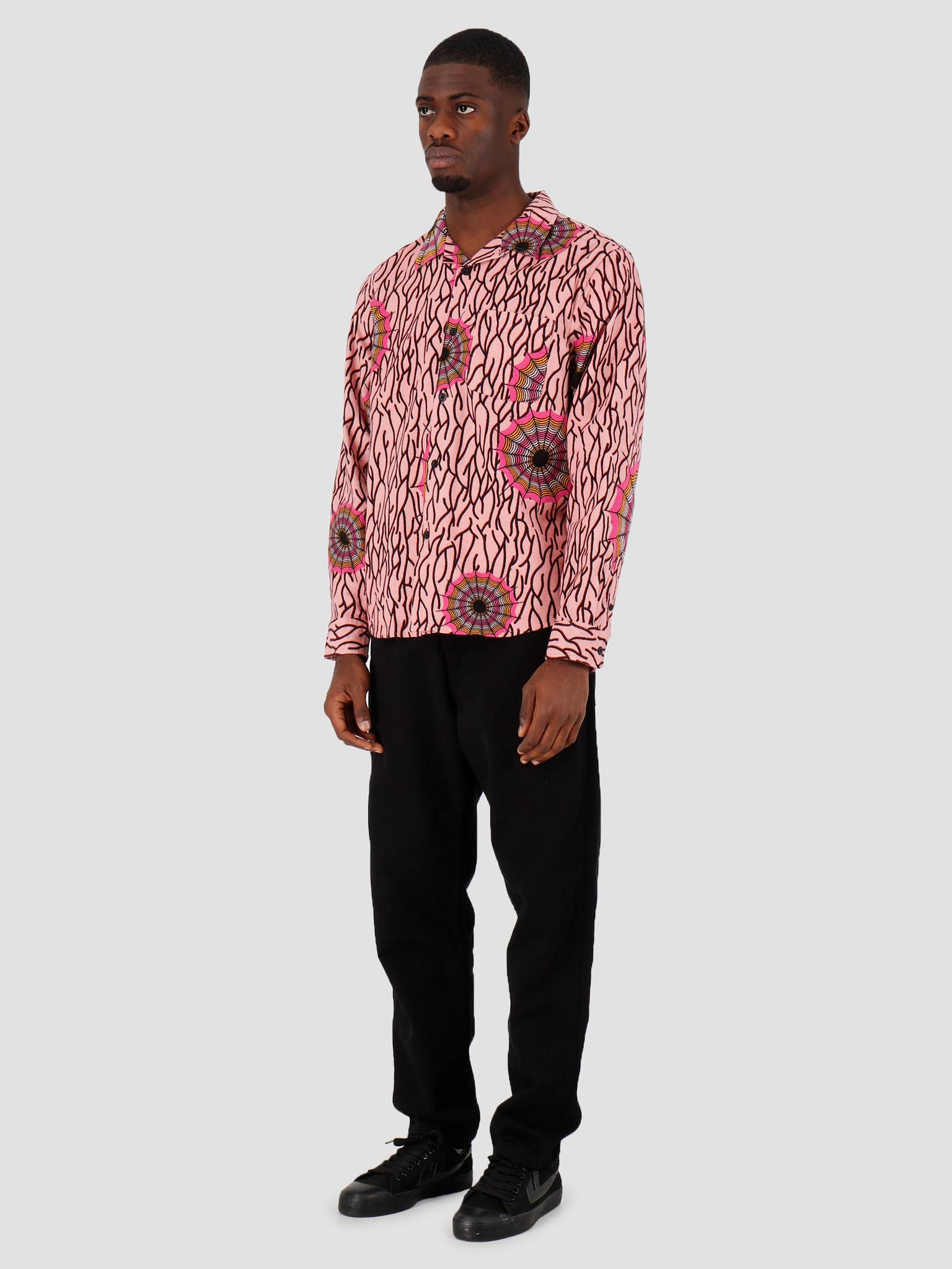 Stussy Stussy Spider Web Flannel LS Shirt Pink 1110087