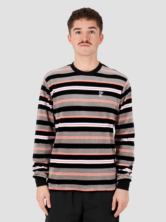 HUF Unveil Stripe Velour Longsleeve Top Black Kn00141Black