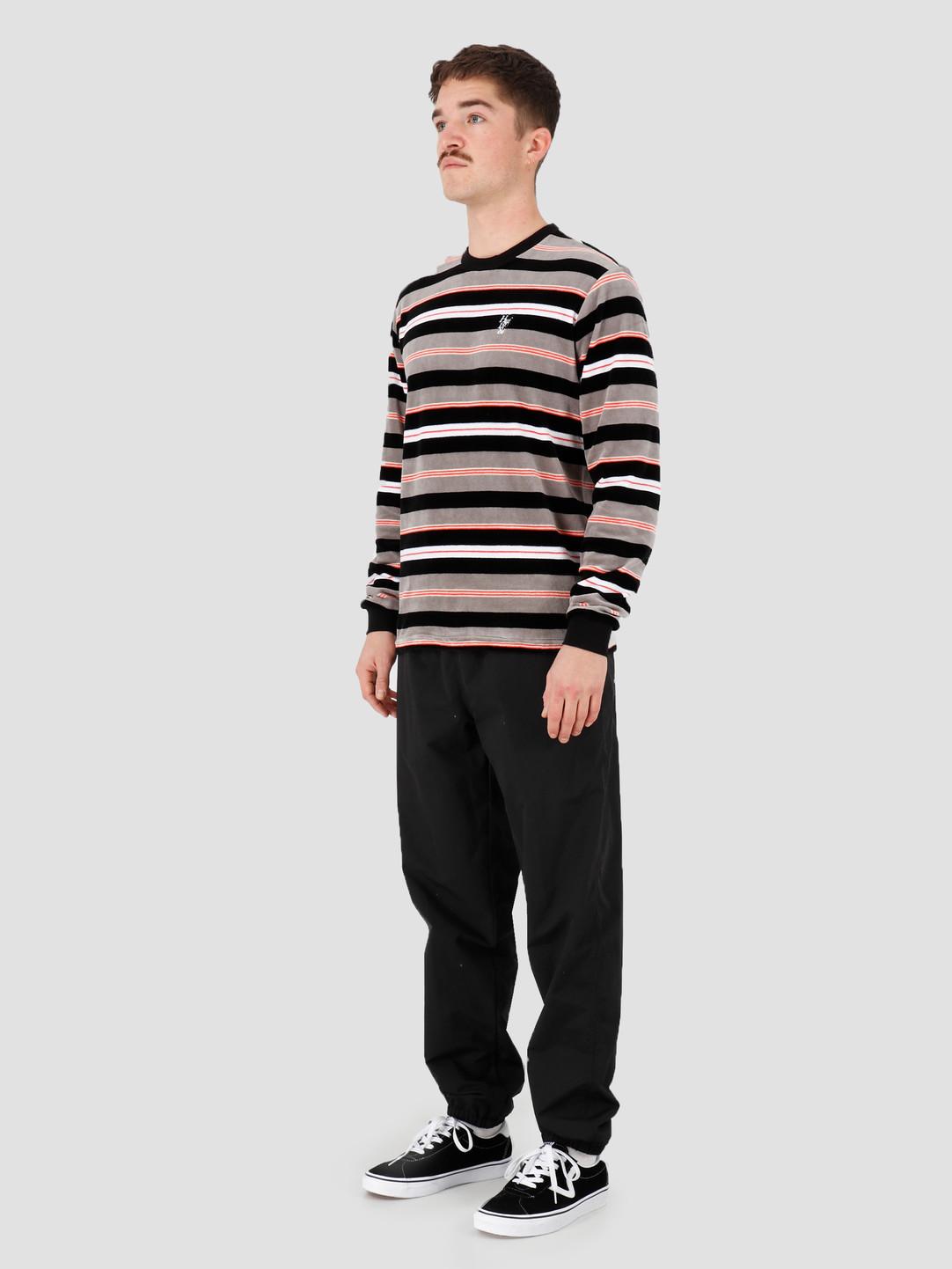 HUF HUF Unveil Stripe Velour Longsleeve Top Black Kn00141Black
