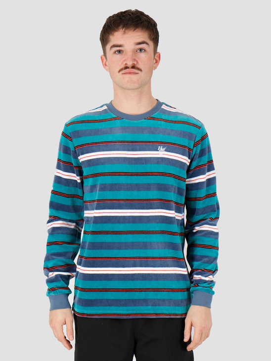 HUF Unveil Stripe Velour Longsleeve Top Quetzal Green Kn00141Qugrn