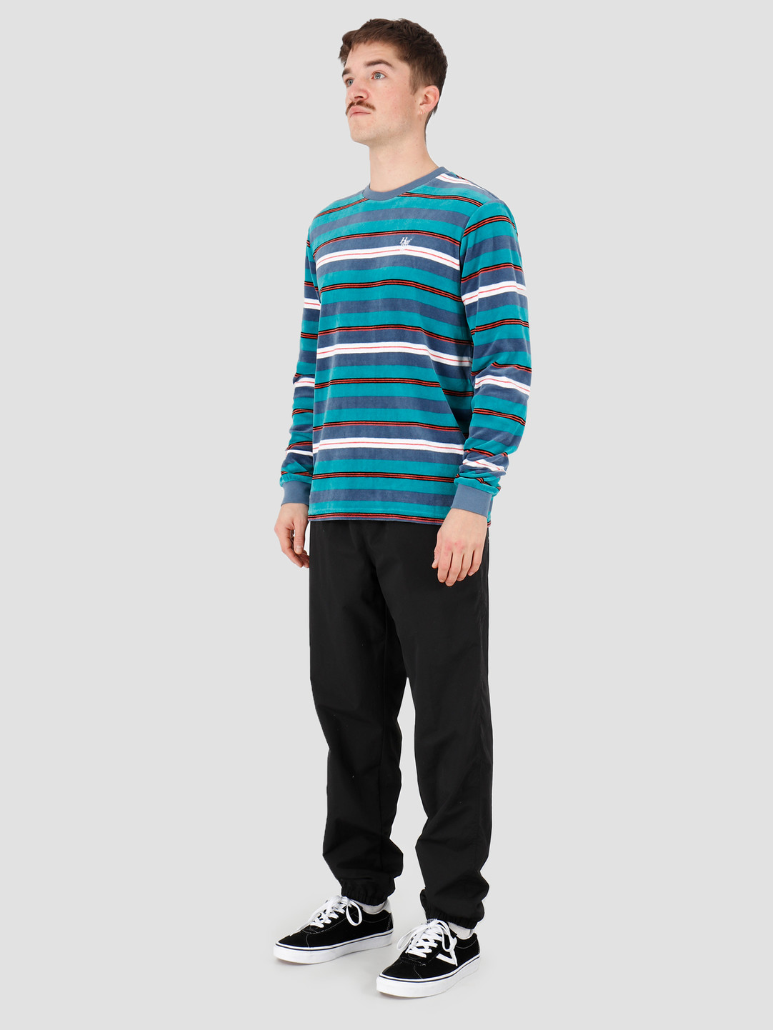 HUF HUF Unveil Stripe Velour Longsleeve Top Quetzal Green Kn00141Qugrn