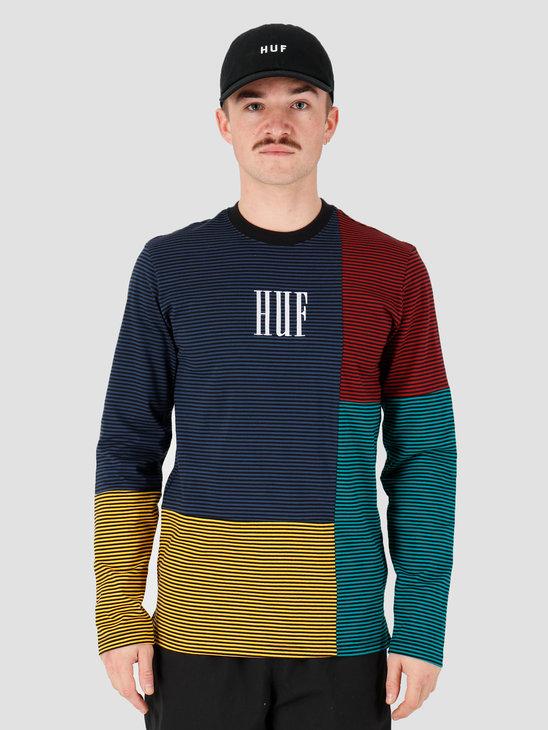 HUF Vilmos Stripe Longsleeve Knit Top Insignia Blue Kn00138Iablu