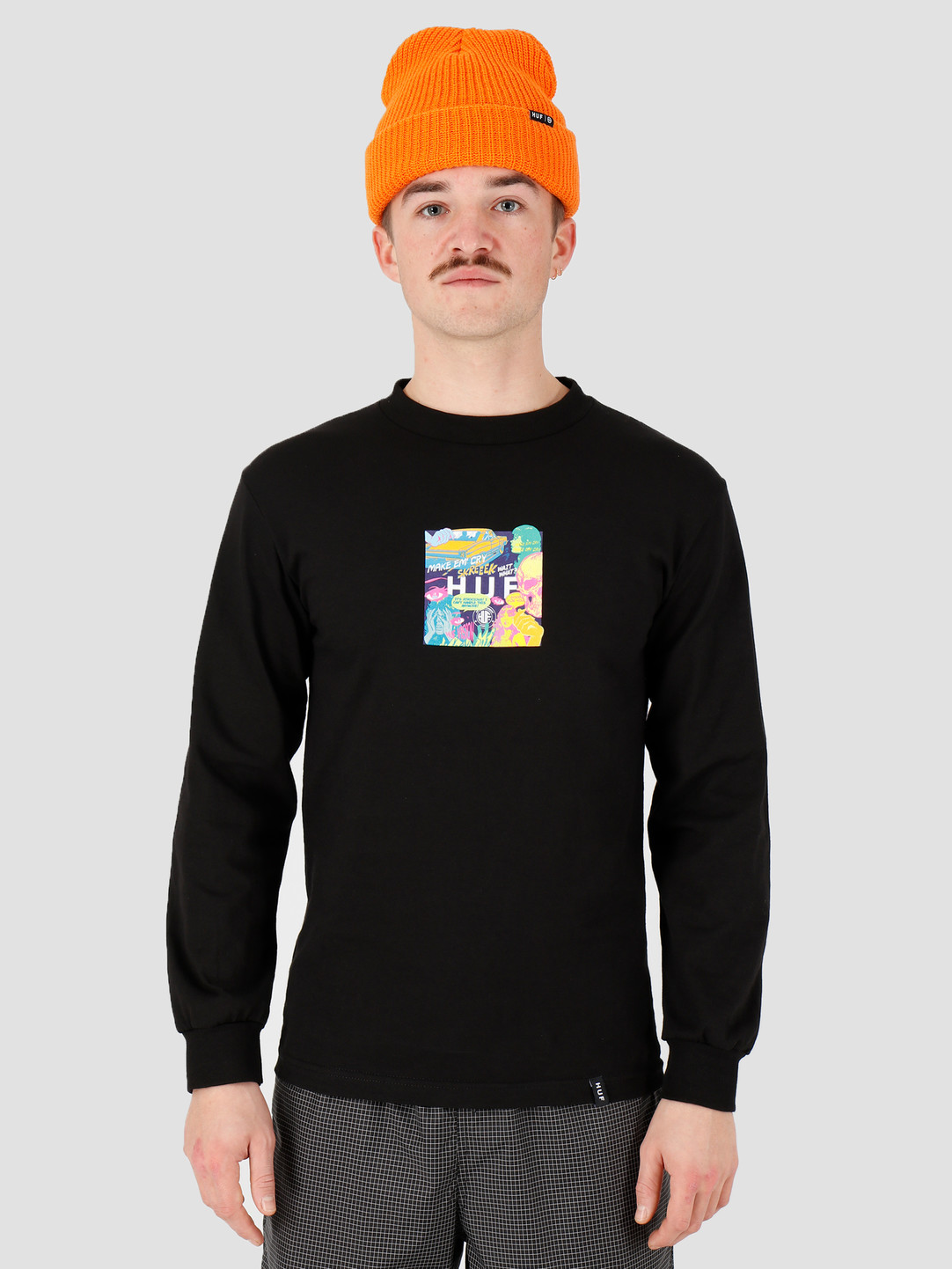 HUF HUF Comics Box Logo Longsleeve Tee Black Ts00884Black