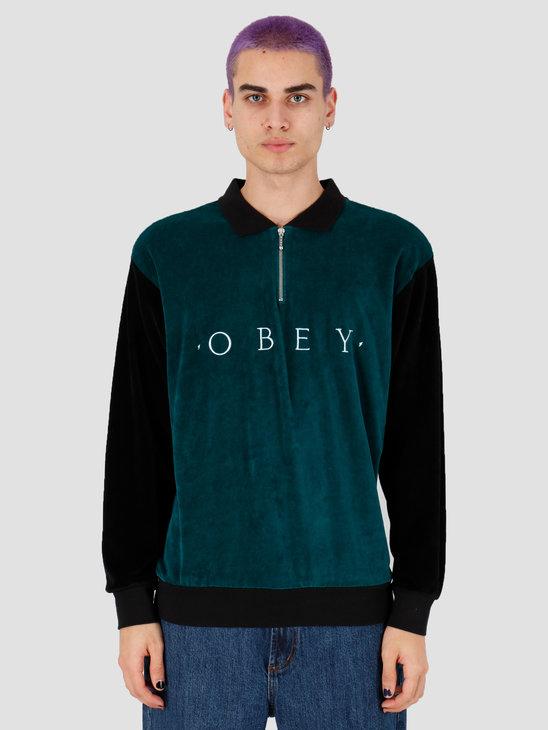 Obey Avenue Zip Polo Ls Black Multi 131040026Bkm