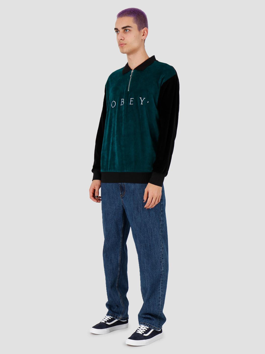 Obey Obey Avenue Zip Polo Ls Black Multi 131040026Bkm