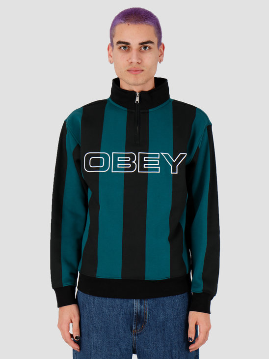 Obey Goal Zip Mock Neck Deep Teal Multi 111620057Dpt