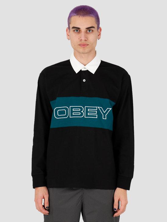 Obey Ignite Classic Polo LS Black multi 131040028BKM