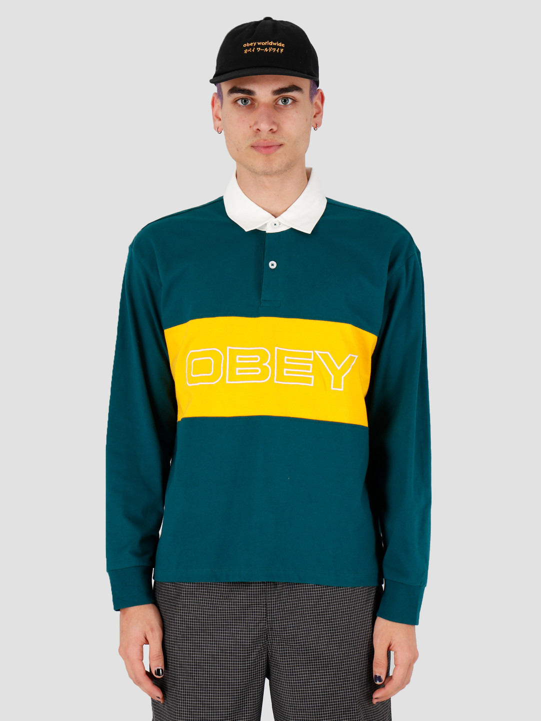 Obey Obey Ignite Classic Polo LS Deep teal multi 131040028DPT