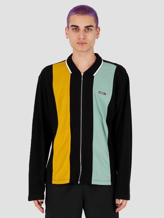 Obey Traffic Zip Polo Ls Black Multi 131040027Bkm