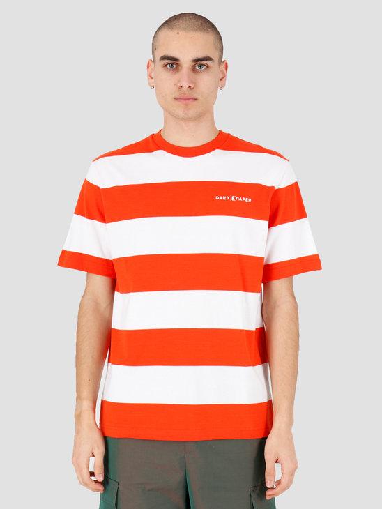 Daily Paper Striped T-Shirt Flame Orange Stripe 20E1TS03-02