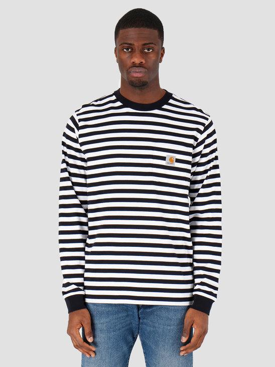 Carhartt WIP Scotty Pocket Longsleeve Scotty Stripe Dark Navy White I027733-1C1A