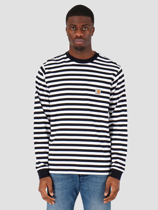 Carhartt WIP Scotty Pocket T-Shirt Scotty Stripe Dark Navy White I027733-1C1A