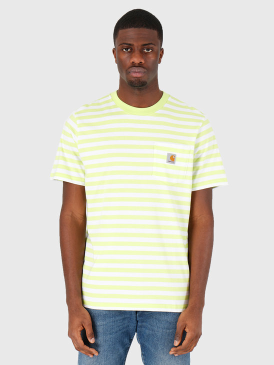 Carhartt WIP Scotty Pocket T-Shirt Scotty Stripe Lime White I027732-09E1A